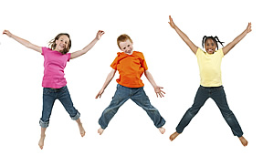 three children jumping in the air