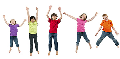 five children jumping in the air